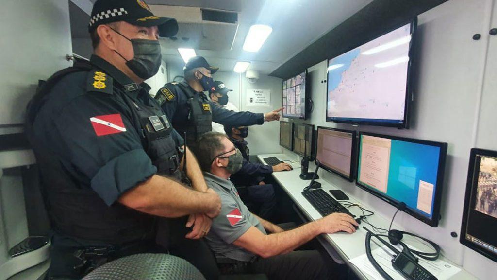 Ônibus de monitoramento da GMB que atua em cooperação com o CIOP em Mosqueiro